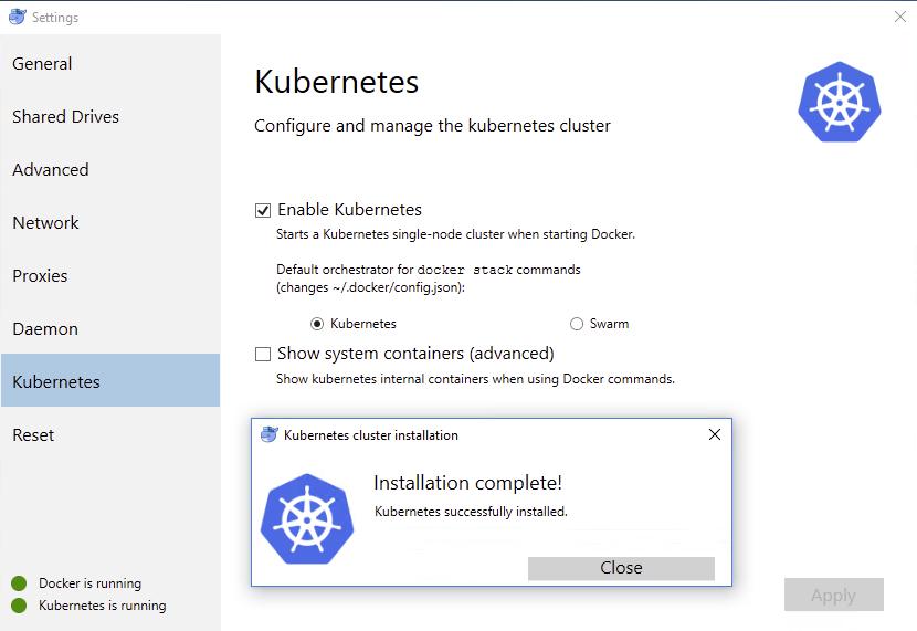 docker-kubernetes-install-complete
